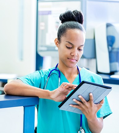 nurse using ipad