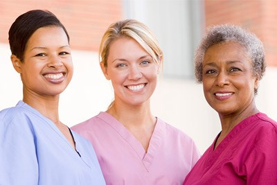 multi-generational group of nurses